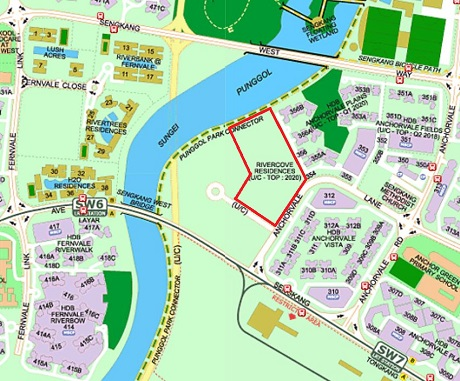 Rivercove EC Location at Sengkang