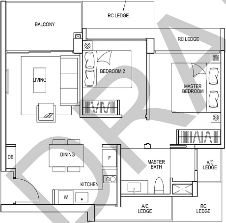 iNz Residence EC Floor Plan 2 Bedroom