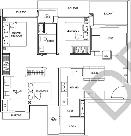 iNz Residence EC Floor Plan 3 Bedroom C2
