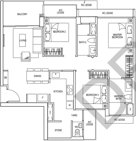 iNz Residence EC Floor Plan 3 Bedroom C5