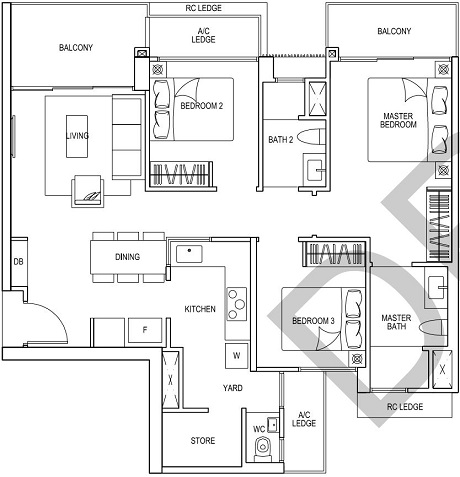 iNz Residence EC Floor Plan 3 Bedroom C5a