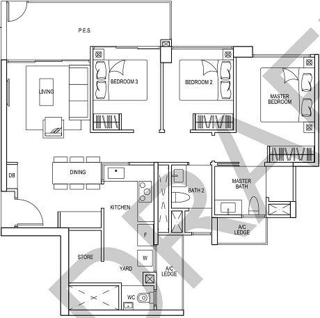 iNz Residence EC Floor Plan 3 Bedroom C6p