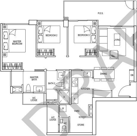 iNz Residence EC Floor Plan 3 Bedroom C7p