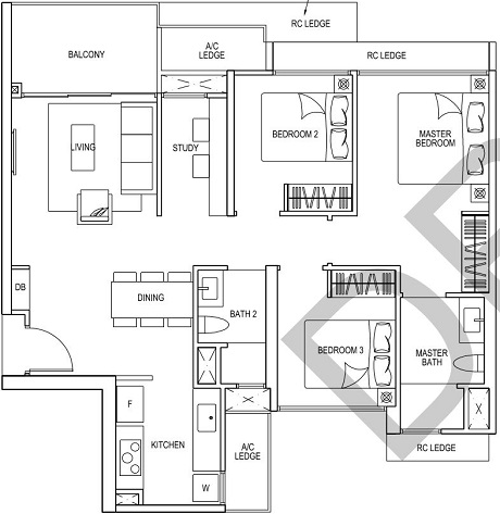 iNz Residence EC Floor Plan 3 Bedroom C3
