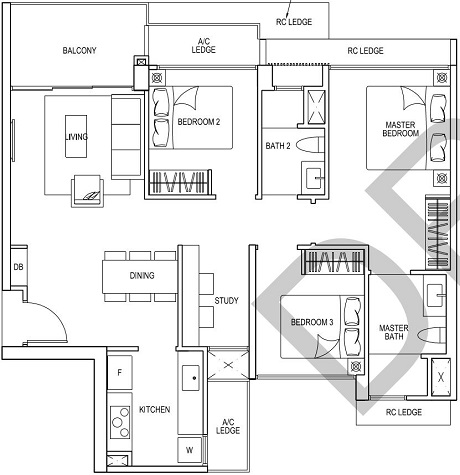 iNz Residence EC Floor Plan 3 Bedroom C4