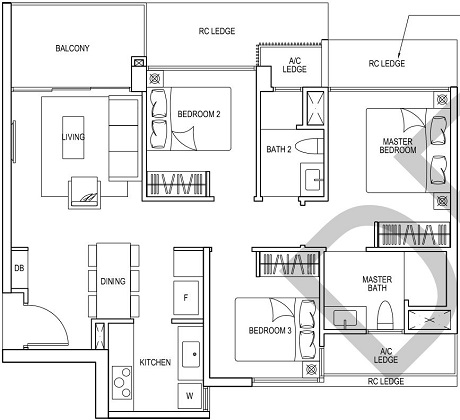 iNz Residence EC Floor Plan 3 Bedroom C1