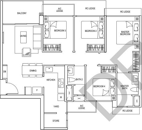 iNz Residence EC Floor Plan 4 Bedroom D1