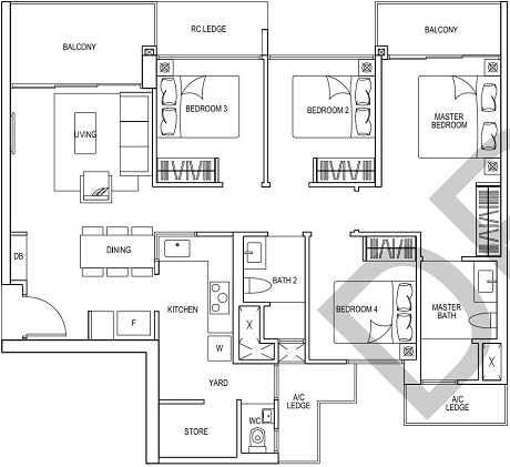 iNz Residence EC Floor Plan 4 Bedroom D2