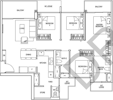 iNz Residence EC Floor Plan 4 Bedroom D3