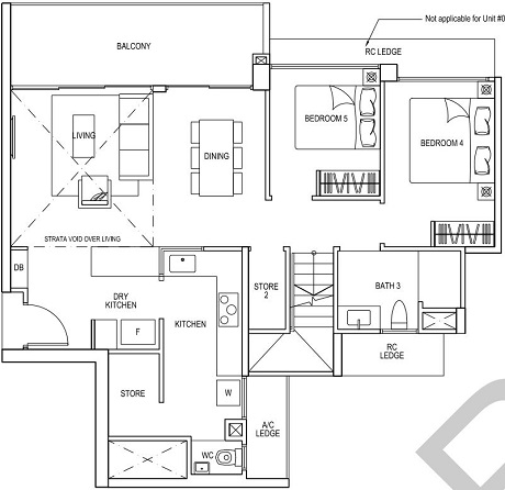 iNz Residence EC Floor Plan 5 Bedroom E1 UL