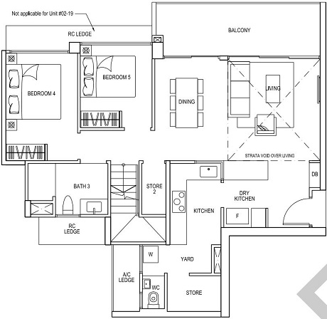 iNz Residence EC Floor Plan 5 Bedroom E2 UL