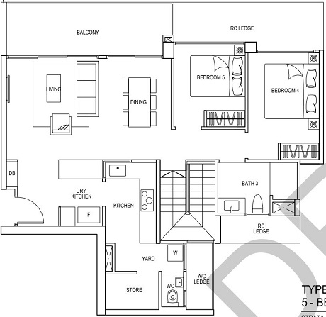 iNz Residence EC Floor Plan 5 Bedroom E2p UL